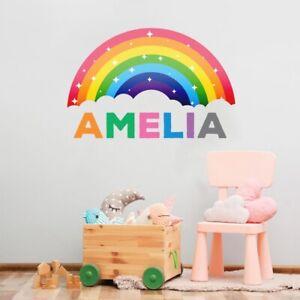 Personalised Rainbow Wall Sticker Name Decal Vinyl Girls Kids Nursery Bedroom