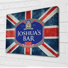 """Personalised Union Jack beer label canvas wall art  12x16"""""""