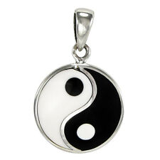 Small Sterling Silver Yin Yang Pendant Taoist Buddhist Jewelry Tao yinyang