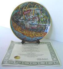 NIB Unused McDonald's Golden Summer Franklin Mint Plate + COA, Stand & Box