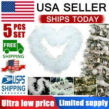 5Pcs Christmas Tree White Feather Boa Home Party Xmas Ribbon Garland Decor 6.6ft