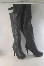 Negro 12.7cm Tacón Alto Puntiagudo Piel Sintética Sobre Rodilla sexy botas Size