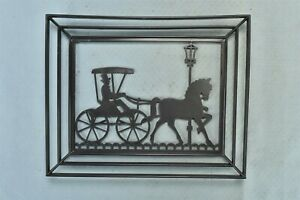 Vintage 1950s BLACK PLASTIC FRAMED HORSE BUGGY MAN SILOUETTE WALL HANGING #01603
