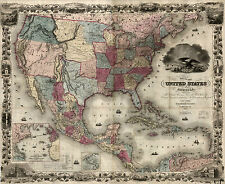 "1850 MAP United States AMERICA, 30""x24"" - antique print, Nice detail, History"