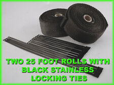 """TURBO DOWNPIPE EXHAUST WRAP BLACK 1/16""""X2""""X 25 FT 2 ROLLS & BLACK STAINLESS TIES"""