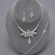 BRIDAL/PROM 3 PIECES  CLEAR CRYSTAL    NECKLACE  & EARRING SET A58NA 7