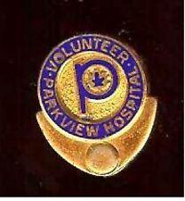 MINI BADGE vintage Parkview HOSPITAL VOLUNTEER Badge MINIATURE
