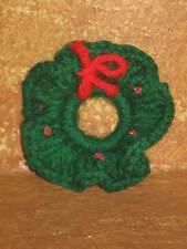 "Vintage Christmas Tree Ornament Holiday Decor Hand Crochet Wreath 3"" Doll House"