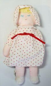 Vintage Eden Baby Doll Plush Sleeping Blonde Hair Pink & White Strawberry Dress