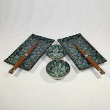 Japanese Sushi Set For Two - Green Floral