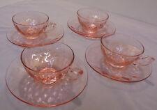 "Heisey Diamond Optic, Flamingo, Pink, 4 Cups & Saucers, 6"" Across Saucer Vintage"
