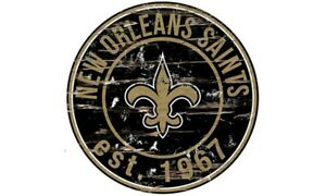 NEW ORLEANS SAINTS Round Distressed Sign 24x24