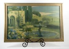 """Vintage Robert Atkinson Fox """"The Enchanted Fountain"""" Art Deco Garden Print"""