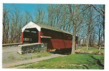 SHEARER'S COVERED BRIDGE Chiques Creek MOVED Manheim Lancaster Co PA Postcard