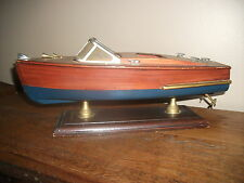 VINTAGE WOOD DISPLAY TOY BOAT RUNABOUT SKI OLD WOODIE SHIP