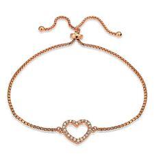 Rosegold Ton über Sterling Silber Zirkonia Offenes Herz Verstellbar Bracele