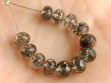 AAA Natural Black Rutilated Quartz Faceted Rondelle Gemstone Beads 6.5-7mm