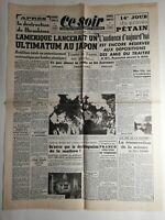 N270 La Une Du Journal Ce soir 8 août 1945 l'Amérique japon ultimatum