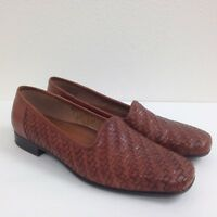 Women's NATURALIZERS Cognac Brown Leather Woven Slip On Casual Shoes Size 8 M