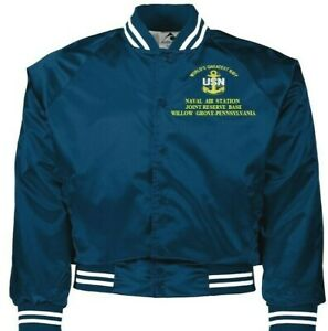 NAVAL AIR STATION JRB WILLOW GROVE PA NAVY EMBROIDERED 2-SIDED SATIN JACKET