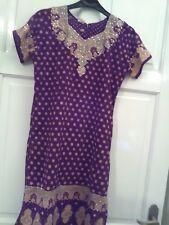 Nipa wear,size 40. Purple, cream, short sleeve dress. Sequin trim