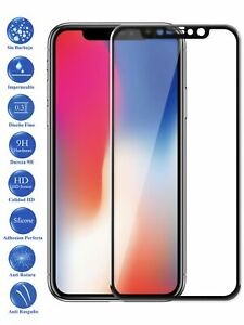 Protector de Pantalla Cristal Templado Completo para Apple Iphone X 10 Negro