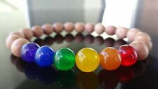 Genuine ORGANIC ROSEWOOD JADE GAY PRIDE Bead Bracelet Men Women Stretch 8mm 7.5""