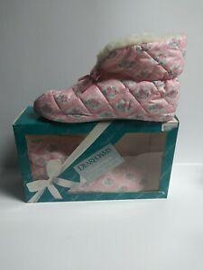 Dearfoams Comforters Boots Women's Medium 6.5-7.5 Pink Floral New 1992