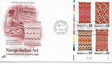 Us Scott #2235-38, First Day Cover 9/4/86 Window Rock Plate Block Navajo Art