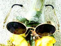 Vintage Gold Polarized Steampunk Sunglasses Fashion Round Mirrored Retro Eyewear