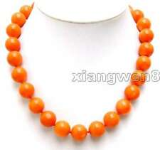 Orange 15-16mm 100% Round Natural Coral Necklace for Women Chokers 17'' ne5214
