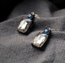 E839 Betsey Johnson Blue Sapphire Rhinestone Crystal Bridal Wedding Earrings UK