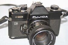 Fujica ST801 35mm SLR Film Camera +Fujinon 55mm 1:1.8 Lens - New Battery - Good.