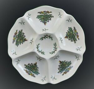 SPODE CHRISTMAS TREE DIVIDED SNACK CHIP DIP SERVING DISH PLATE