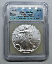 2007 American Silver Eagle ICG MS70 FIRST STRIKE Coin #55/1000