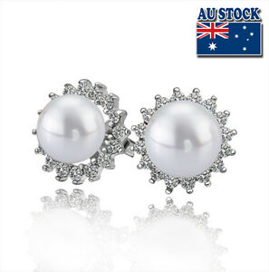 Classic 18K White Gold Filled Cubic Zirconia Crystal Seashell Pearl Stud Earring