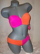 NWT Victoria Secret 34D S Colorblock  Bandeau Cheeky Swimsuit Bikini