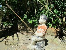 """Fishing Boy & Pole Vintage Cement/Concrete Garden Statue 17"""" T Layers Old Paint"""