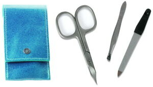 Leather IN Turquoise & Stainless Steel Manicure Case Set - DOVO Solingen