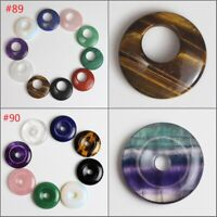 Natural Gemstones Amethyst Agate Quartz Donut Cabochon Ring Reiki Chakra Pendant