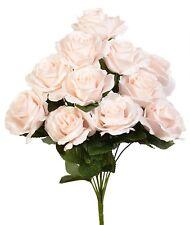 12 Blush Long Stem Open Roses ~ Silk Wedding Flowers Bridal Bouquets Decorations