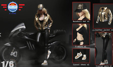 1/6 Scale Motorcycle Leather Jacket Pants Hat Set For 12'' Female Figure