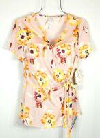 Naif Women's Pink Floral Print Peplum Wrap Top Blouse Size L NWT