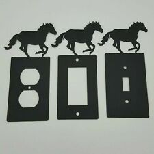 Horse Mustang Black Outlet Covers Switch Plates Toggle Country Western Cabin