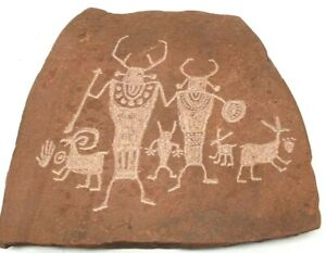 Souvenir Etched Tribal Cave Painting Stone Slab Carved Stepping Stone