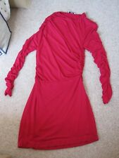 Mango Suit Red Ruched Dress Size 12