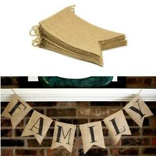 15Pcs Vintage Rustic Burlap Pennant Banner Triangle Banner Wedding Decals Props