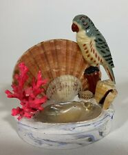 Vintage Seashell Art Parrot and Scallop Shell Dish