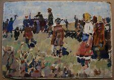 Russian Ukrainian Soviet Oil Painting impressionism farmer tractor children