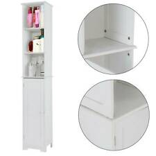 White Bathroom Tall Wooden Cabinet Shelving Unit Cupboard Stylish MDF Cabinet UK